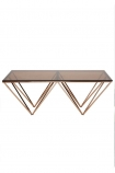 Smoked Glass & Rose Gold Pyramid Coffee Table