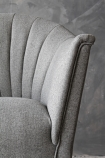 detail image of The Lovers Herringbone Tweed Chair - Garson Grey with grey wall background