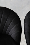 detail image of The Lovers Velvet Chair - Back to Black with grey wall background