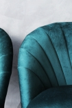 detail image of The Lovers Velvet Chair - Ocean Deep Green with grey wall background