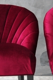 detail image of The Lovers Velvet Chair - Pinot Noir Red with grey wall background