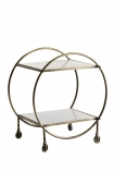 cutout image of Round Brass and Marble Drinks Trolley on white background