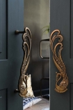 Set Of 2 Art Deco Brass Swan Door Handles