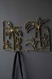 Set Of 2 Gold Palm Tree Wall Art Coat Hooks