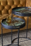 Set Of 2 Marble Effect Tray Side Tables