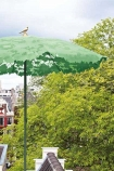 lifestyle image of Shadylace Parasol - Green in outside setting