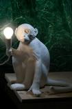 Sitting Monkey Table Lamp - White