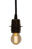 cutout image of E27 2W Small LED Bulb lit up on white background
