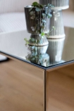 Close-up image of the top of the Mirrored Cube Side Table