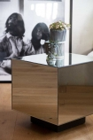 Close-up lifestyle image of the Mirrored Cube Side Table