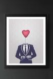 detail image of Unframed Mr Valentine Fine Art Print in black frame on dark wall background