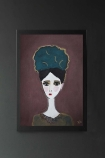 lifestyle image of Unframed Eden Art Print By Rebecca Sophie Leigh white girl with blue hair and green jumper on purple background hanging on dark grey wall