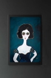 lifestyle image of Unframed Ella Art Print By Rebecca Sophie Leigh white girl with black hair and dark blue dress on blue background hanging on dark grey wall