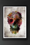 lifestyle image of Unframed Flower Skull Fine Art Print in black frame on dark wall background