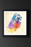 lifestyle image of Unframed Sunny Leo Fine Art Print watercolour rainbow lion in black frame on dark wall background