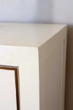 Close-up image of the corner on the Oriental Gloss White Bedside Table