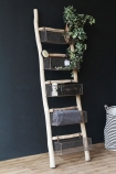 Lifestyle image of the Wooden Ladder With 5 Basket Shelves with trailing plant on top shelf and other accessories inside with black and white striped basket on wooden floor and with dark wall background