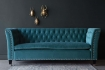 Full length image of the Teal Velvet Chesterfield 3 Seater Sofa With Stud Detail