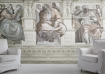 landscape lifestyle image of Young & Battaglia Fresco Wallpaper Mural Wallpaper with white armchairs