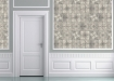 landscape lifestyle image of Louise Body Patchwork Tea Tile Wallpaper - Panel with white doorway