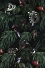 Dark Amazonia Wallpaper - Lemurs, Chinchillas and Birds climb over the leaves in the night - Rockett St George