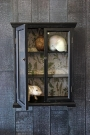 Distressed black wall cabinet on a wooden wall, one door half open with a botanical lining - Rockett St George