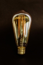 Image of the E27 3W LED Dimmable Tinted Squirrel Cage Light Bulb upright on a black background