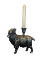Antique Bronze Effect Ram Candlestick Holder
