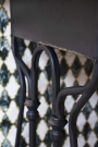 Close-up image of the leg detail on the Black Metal Sideboard Desk