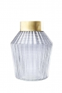 Ink Ribbed Glass Vase With Gold Top