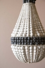 Charcoal & White Wooden Beaded Chandelier