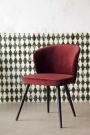 Angled lifestyle image of the Merlot Red Deco Velvet Dining Chair