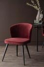 Lifestyle image of the Merlot Red Deco Velvet Dining Chair