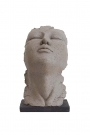 Image of the large Distressed Stone Effect Resting Head Ornament on a white background
