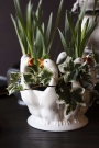 Close-up lifestyle image of the White Pekin Ducks Plant Pot Vase with plants in it