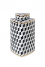 Image of the short Geometric Monochrome Storage Jar with Gold Detail on a white background