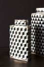 Lifestyle image of the short Geometric Monochrome Storage Jar with Gold Detail