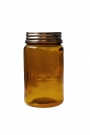 Pills amber recycled glass storage jar on a white background