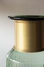 Gold Neck Green Tinted Glass Bottle Vase