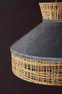 Close-up lifestyle image of the Silver Grey Velvet & Rattan Pendant Ceiling Light