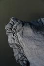 Olivia Soft Linen Frill Cushion - Slate Grey
