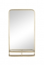Image of the Light Gold Tall Bathroom Mirror With Shelf on a white background