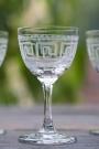 Set Of 6 Vintage Style Crystal Liqueur Glasses - Greek Key