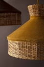 Close-up lifestyle image of the Gold Mustard Velvet & Rattan Pendant Ceiling Light