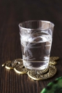 Lifestyle image of the Elegant Engraved Palm Tumbler Water Glass on a coaster full with water