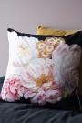 Peach Peony Rose Velvet Cushion