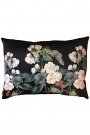 Apple blossom floral butterfly velvet cushion in black on a white background