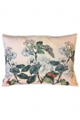 Apple blossom floral butterfly velvet cushion in nude pink on a white background