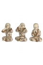 Image of the Set Of 3 See No Evil, Hear No Evil, Speak No Evil Monks on a white background