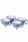 Image of the Set Of 4 Pretty Indigo Blue & White Teacups on a white background